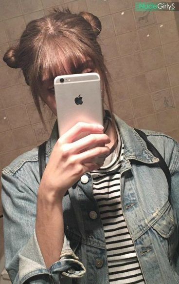 French teen with glasses Amandine princess Leia buns selfie