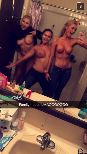 Naughty family group nudes snapchat babes having fun