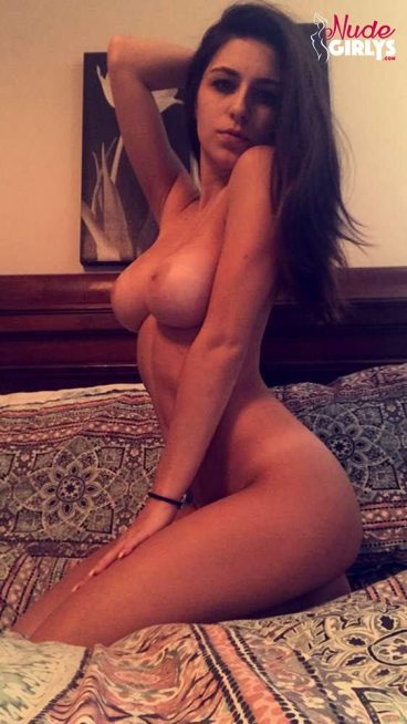 Stunning young sexy nude brunette goddess girlfriend on bed