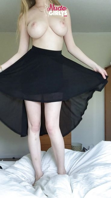 Beautiful young NeoAphrodite nude tits skirt tease on bed